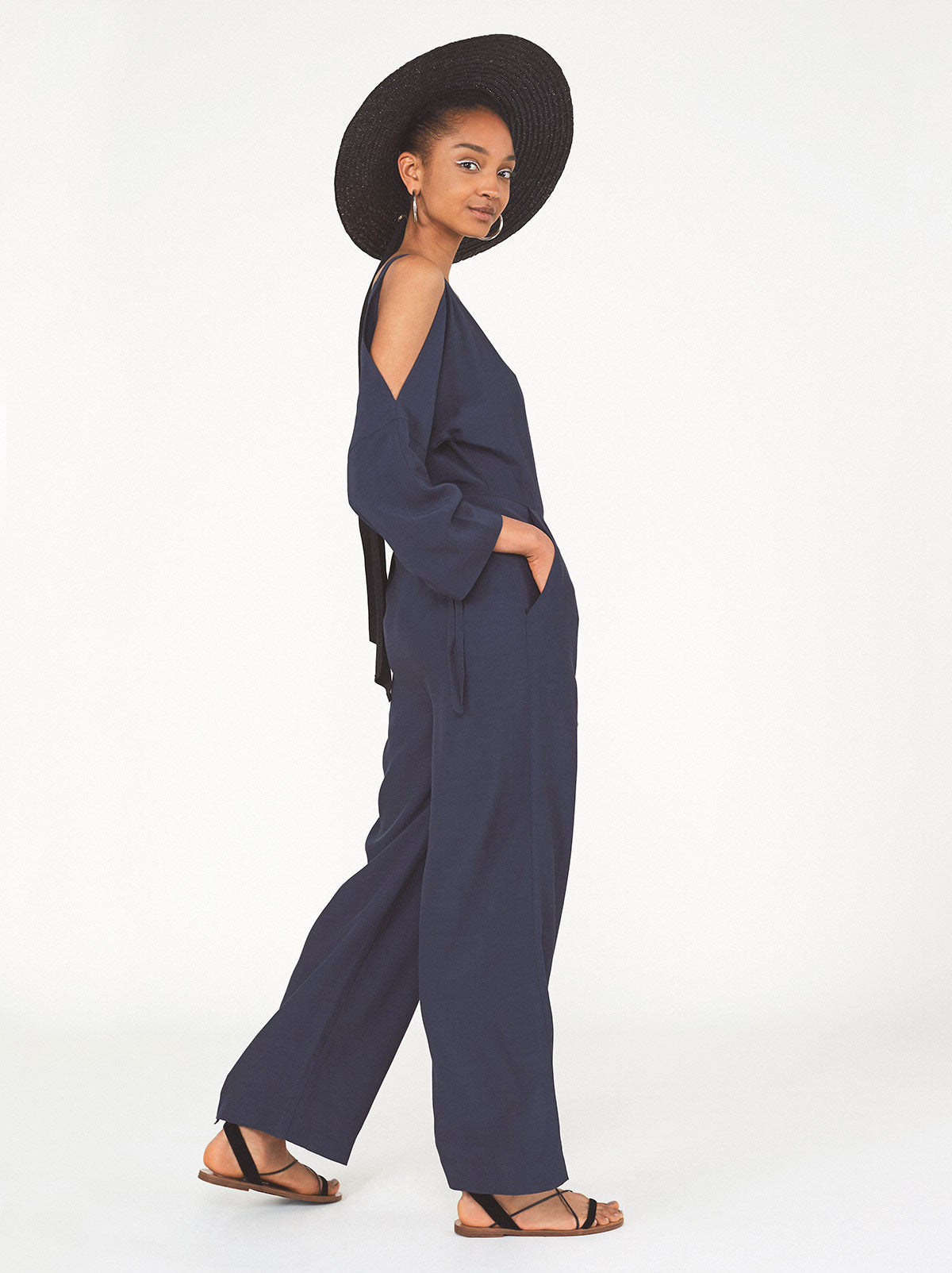 Tatiana Navy Cold Shoulder Jumpsuit