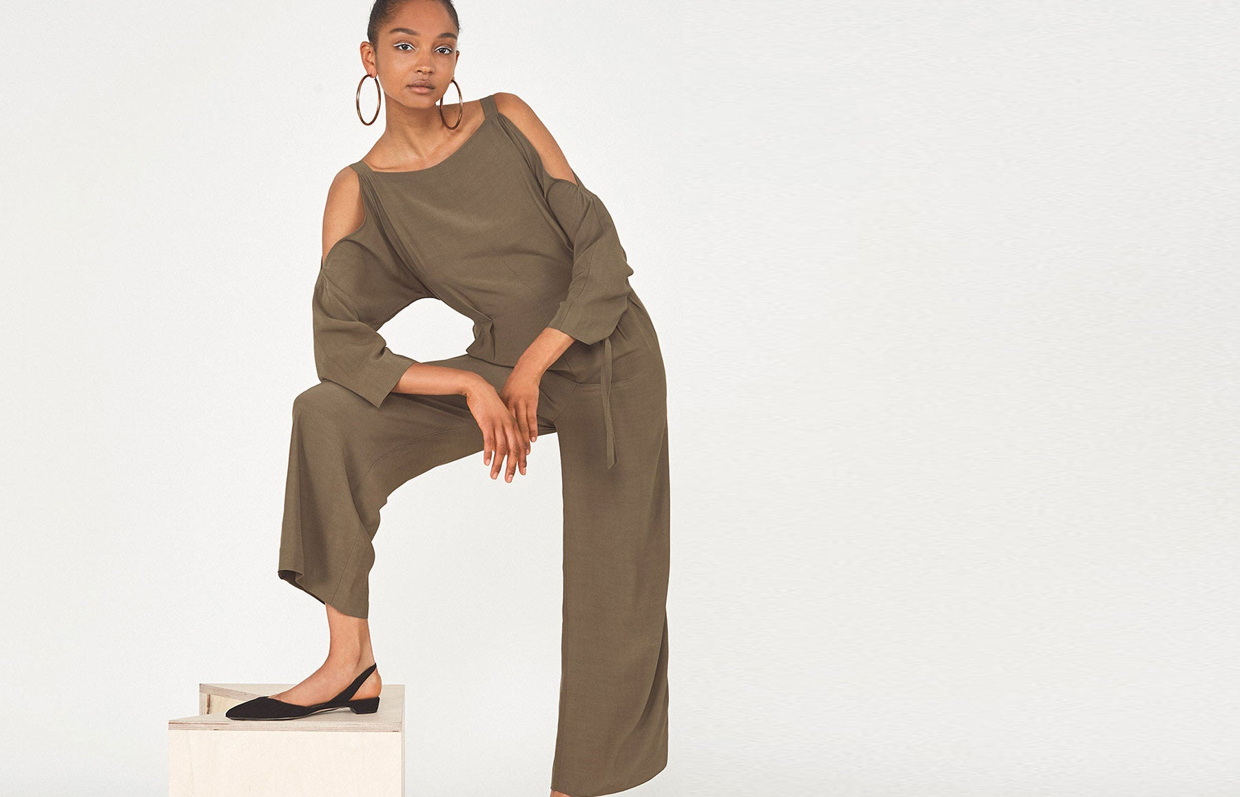 Tatiana Khaki Cold Shoulder Jumpsuit