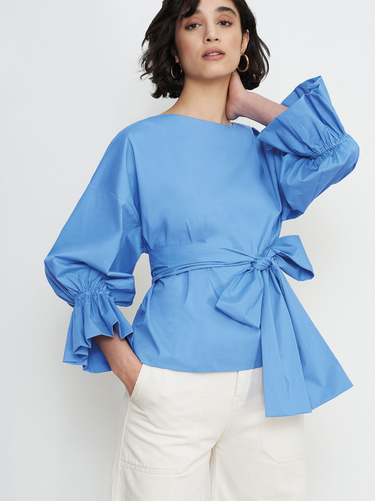 Tessa Blue Bubble Oversized Sleeve Shirt by KITRI Studio