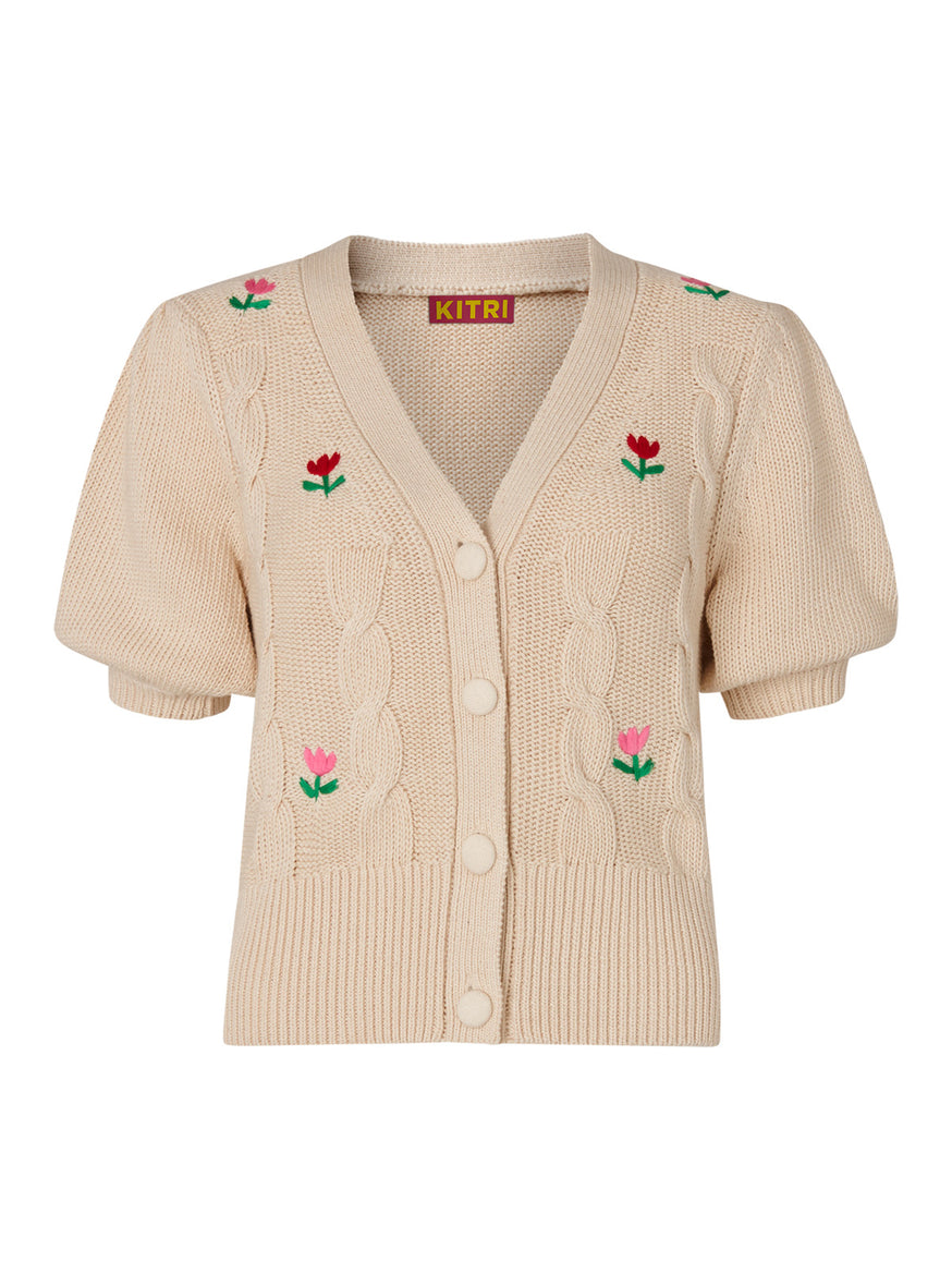 Tilly Tulip Embroidered Short Sleeve Cardigan  by KITRI Studio