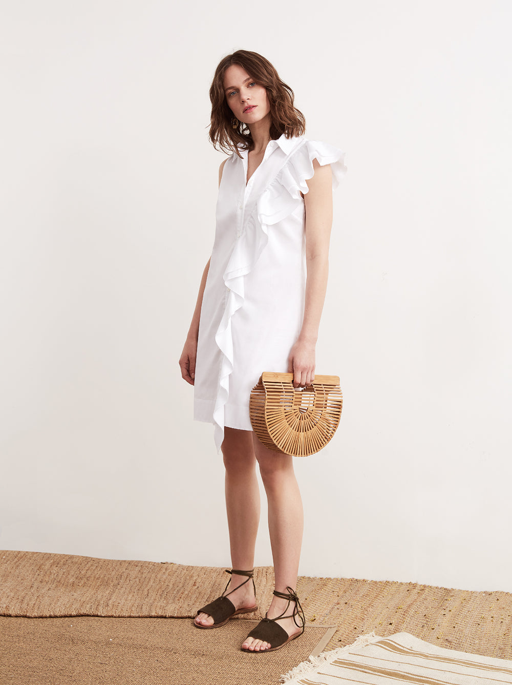 Valse White Cotton Frill Shirt Dress by KITRI Studio
