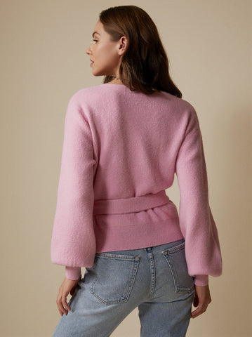 Wendy Pink Alpaca Blend Wrap Cardigan by KITRI Studio