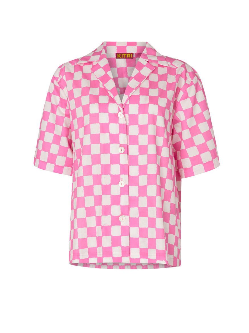 Missy Pink Checker Top by KITRI Studio