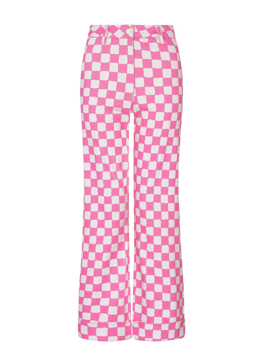 Olive Pink Checker Trousers by KITRI Studio