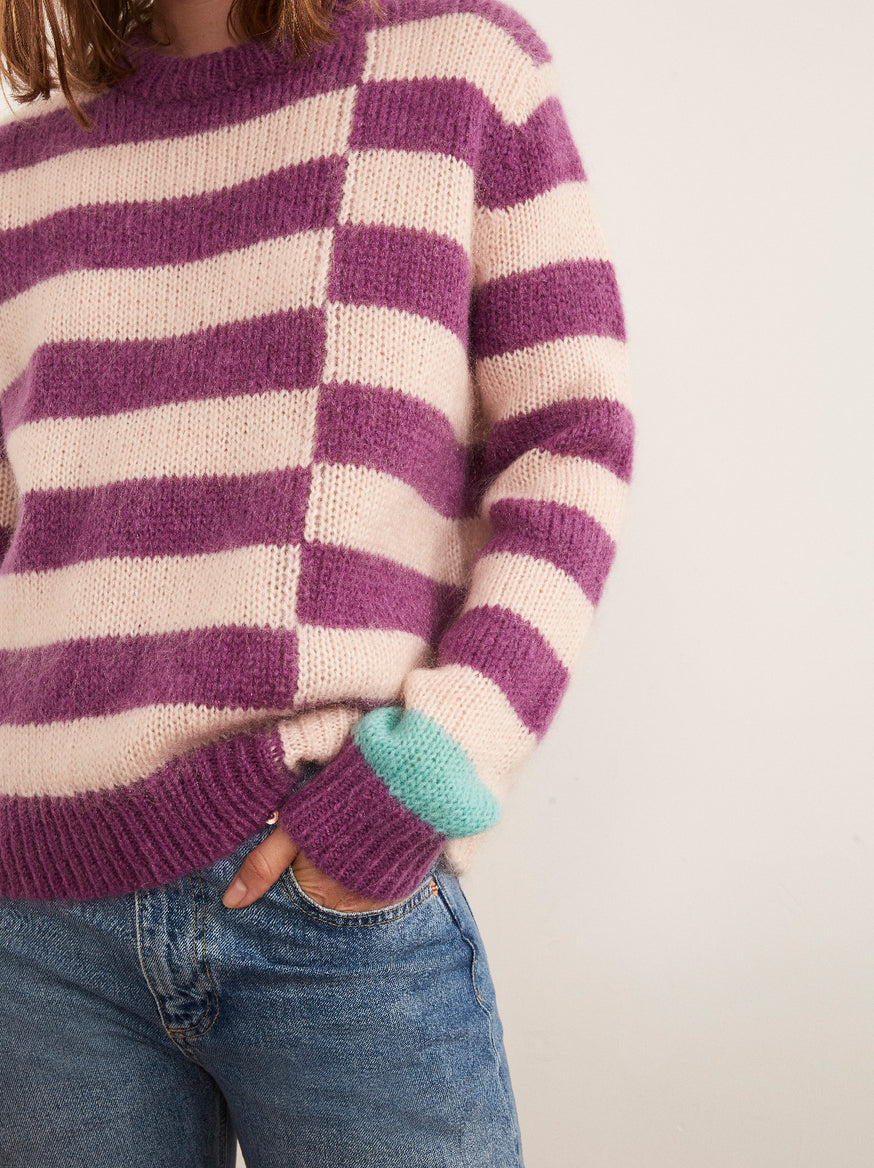 Karla Violet Mohair Striped Jumper by KITRI Studio