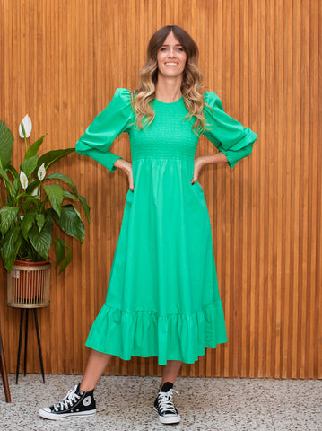 Karoline Green Smocked Dress