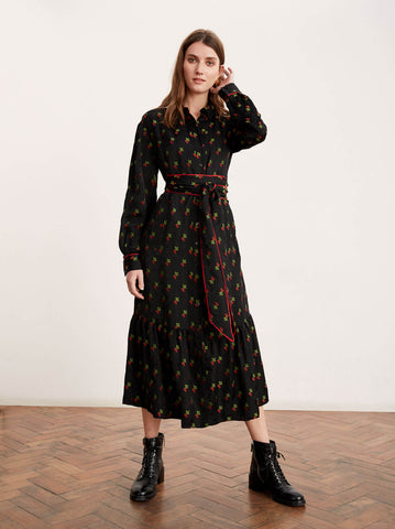 Krista Black Cherry Shirt Dress by KITRI Studio