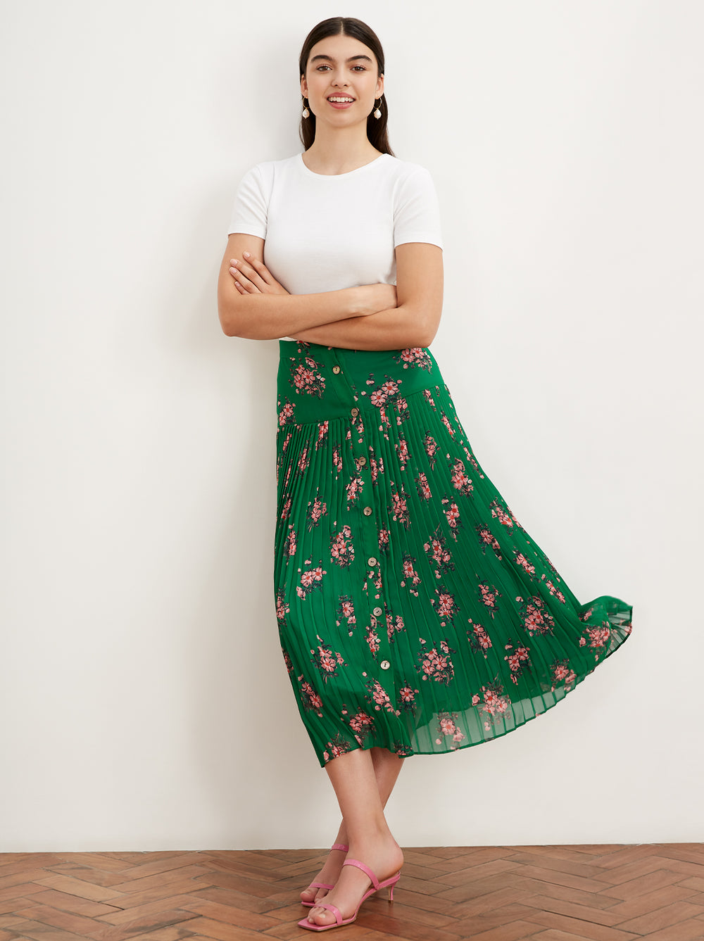 Kristi Green Floral Print Pleated Midi Skirt by KITRI Studio
