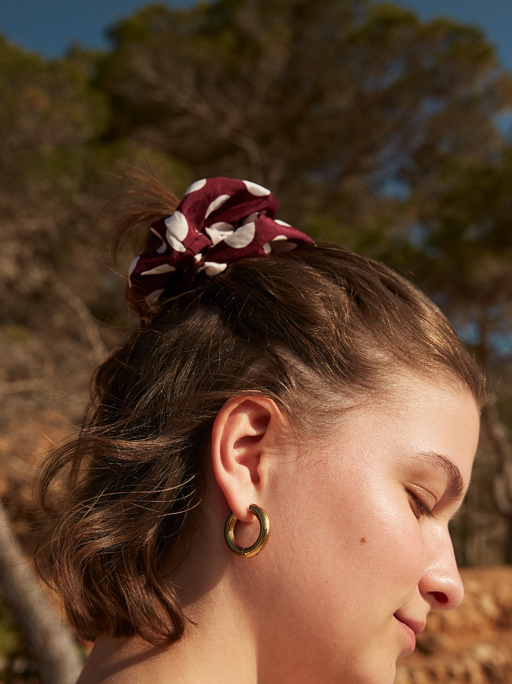 Large Aubergine Polka Dot Scrunchie by KITRI Studio