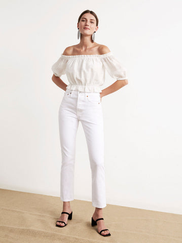 Larissa White Bardot Crop Top by KITRI Studio