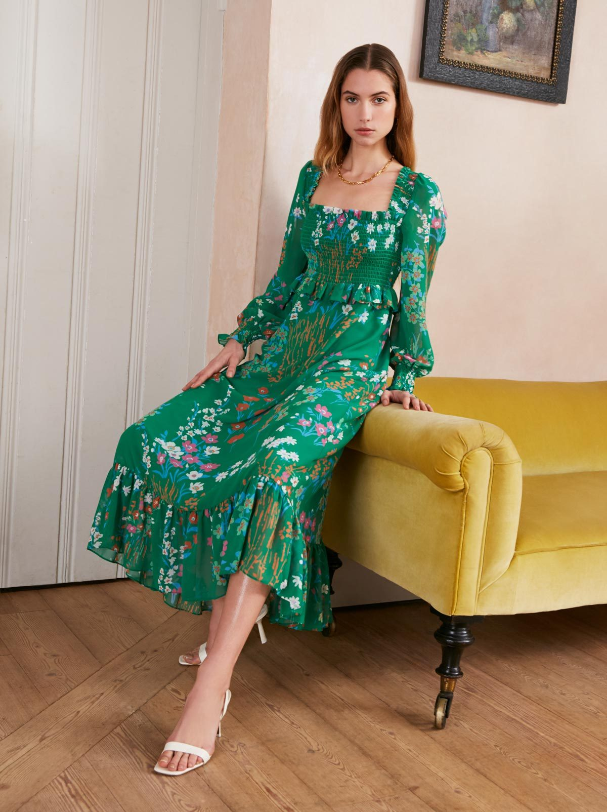 Lauren Green Floral Print Dress by KITRI Studio