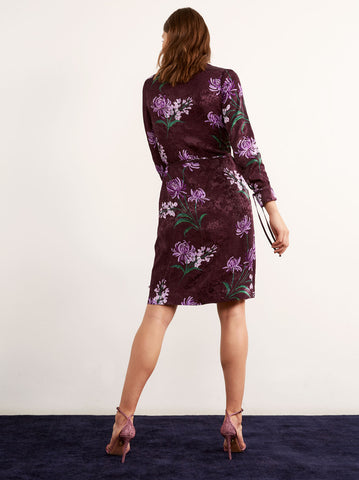 Lausanne Purple Floral Print Wrap Dress by KITRI Studio