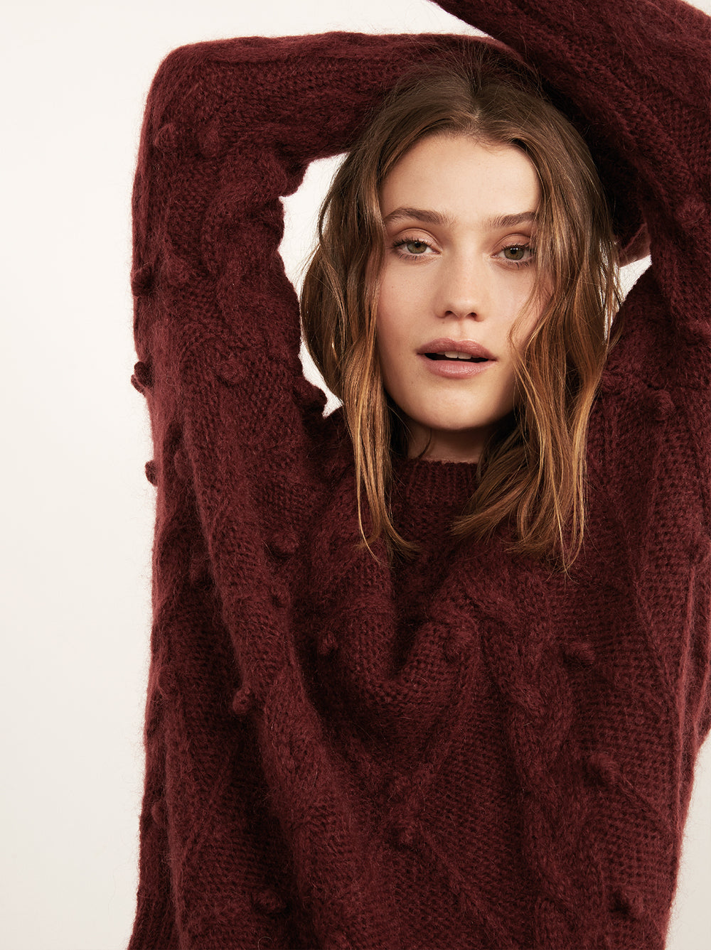 85e66bccfa4b Leith Burgundy Mohair Cable Jumper by KITRI Studio ...