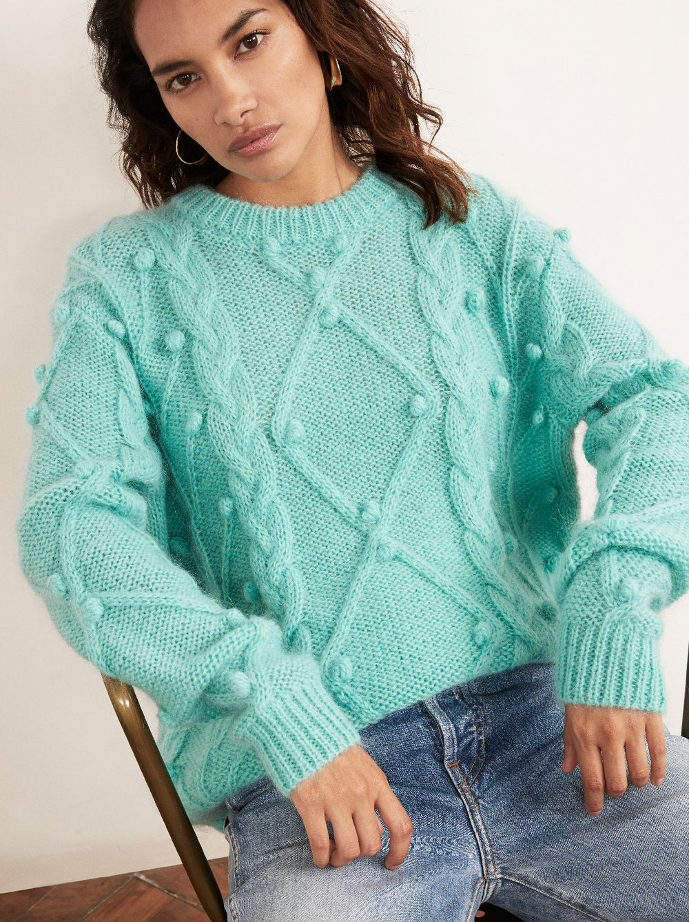 Leith Azure Mohair Cable Jumper by KITRI Studio