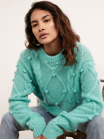 Leith Azure Mohair Cable Jumper
