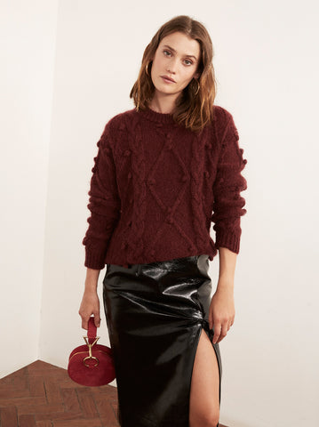 Leith Burgundy Mohair Cable Jumper by KITRI Studio