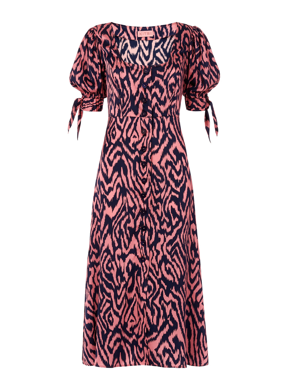 Lenora Pink Animal Print Silk Midi Dress by KITRI Studio