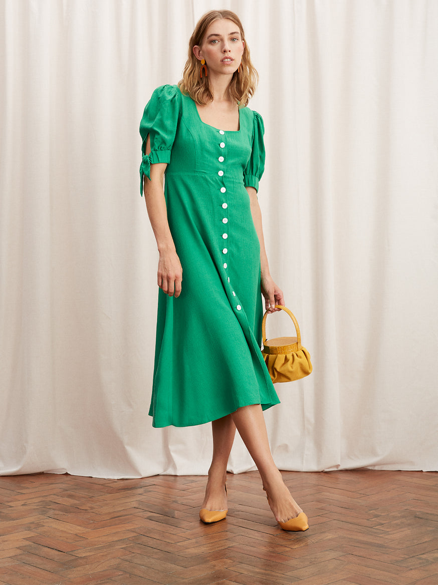 Lenora Green Tie Sleeve Midi Dress by KITRI Studio