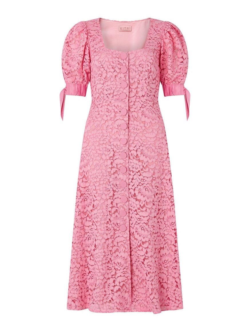 Lenora Pink Lace Midi Dress by KITRI Studio