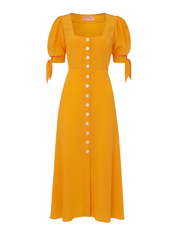Lenora Yellow Tie Sleeve Midi Dress by KITRI Studio