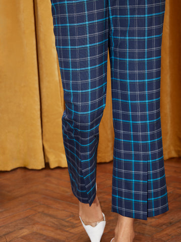 Lexi Blue Checked Cropped Flare Trousers by KITRI Studio
