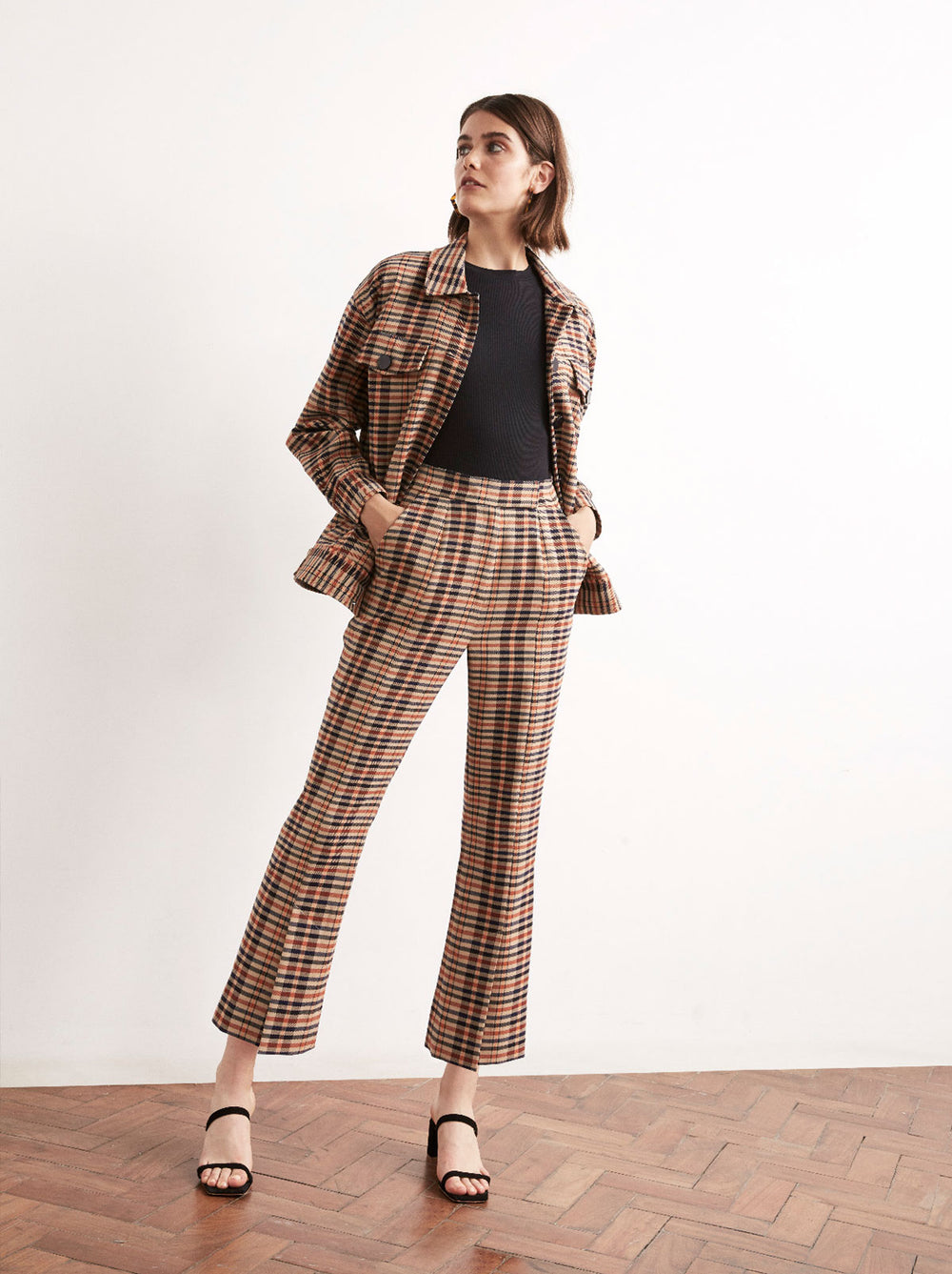 Lexi Checked Split Front Cropped Trousers by KITRI Studio