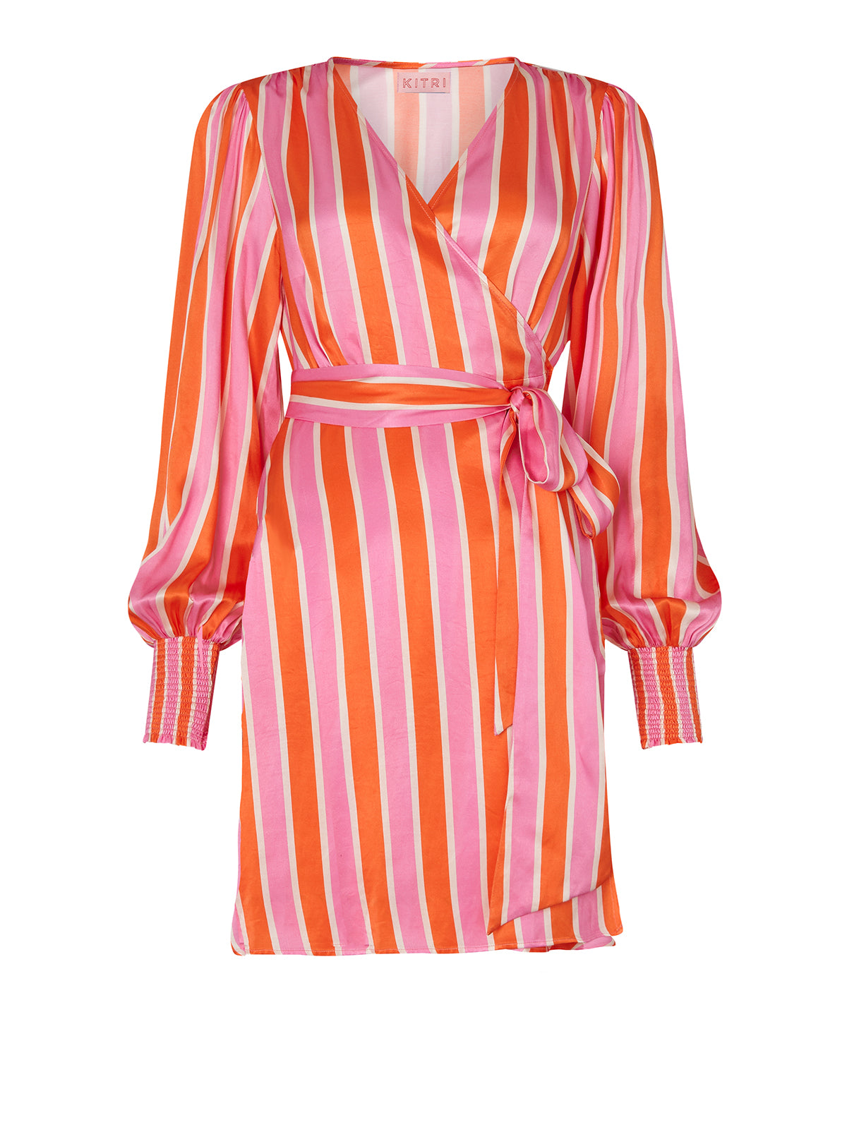 Lise Candy Stripe Mini Wrap Dress by KITRI Studio