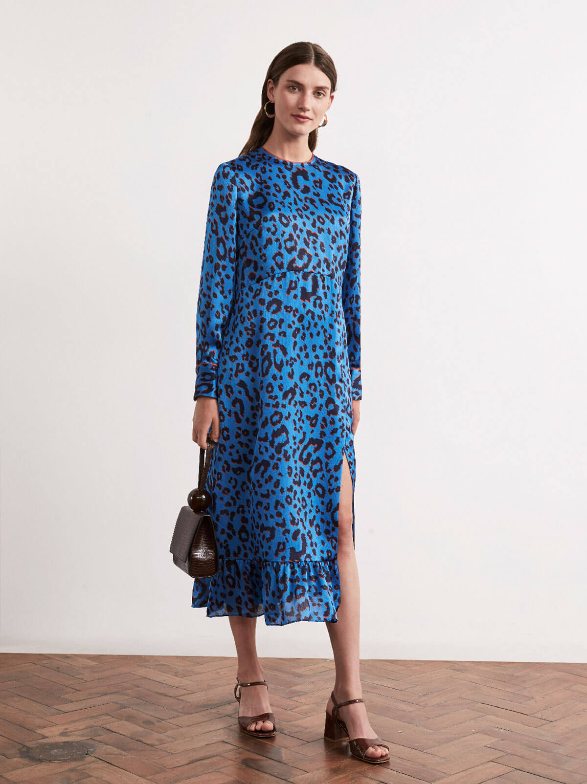 Lola Animal Print Frill Midi Dress by KITRI Studio