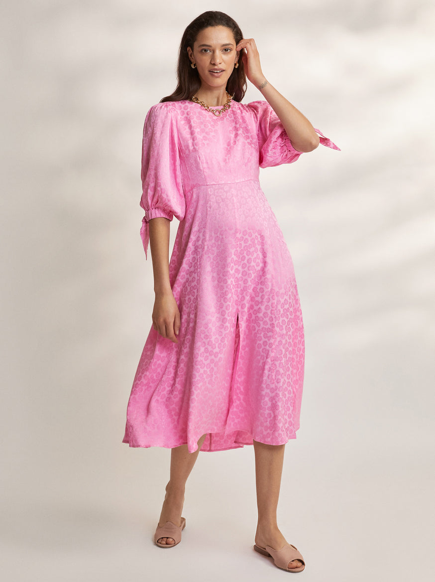 Lorelle Pink Daisy Jacquard Midi Dress by KITRI Studio