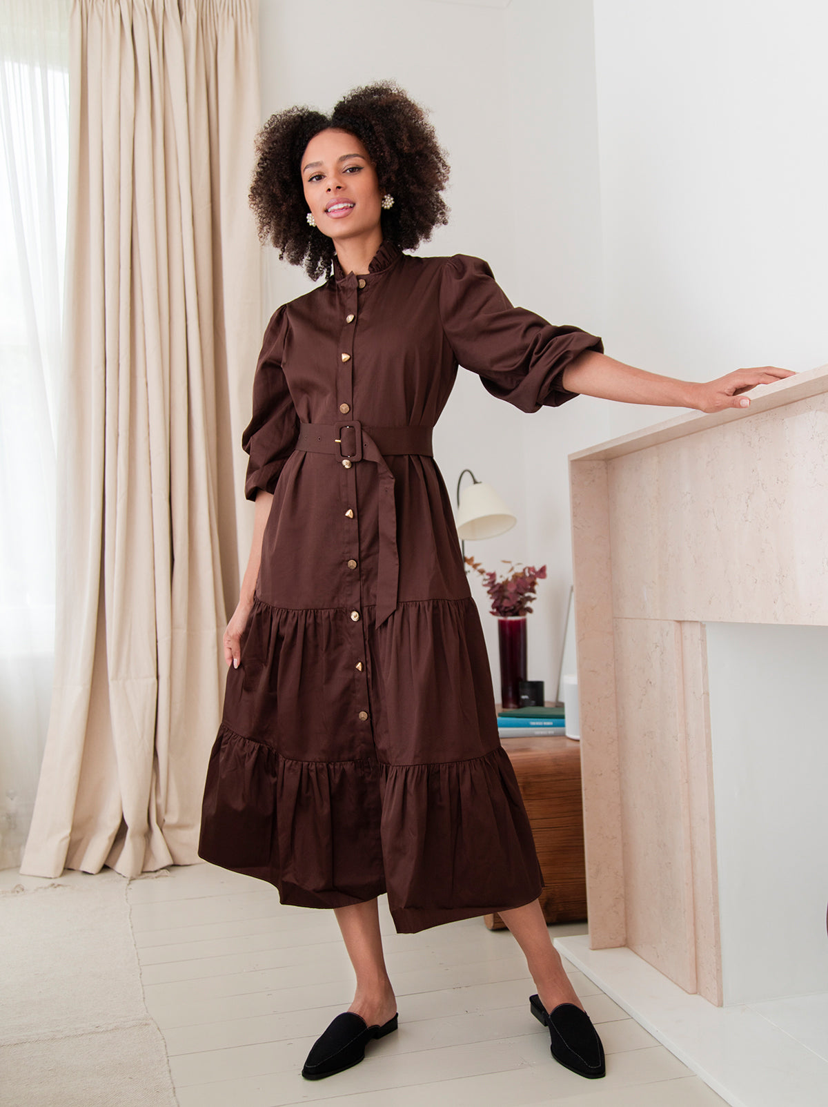 Lori Chocolate Midi Shirt Dress