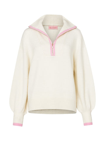 Pre-order: Lorna Ivory Alpaca Blend Zip Collar Sweater