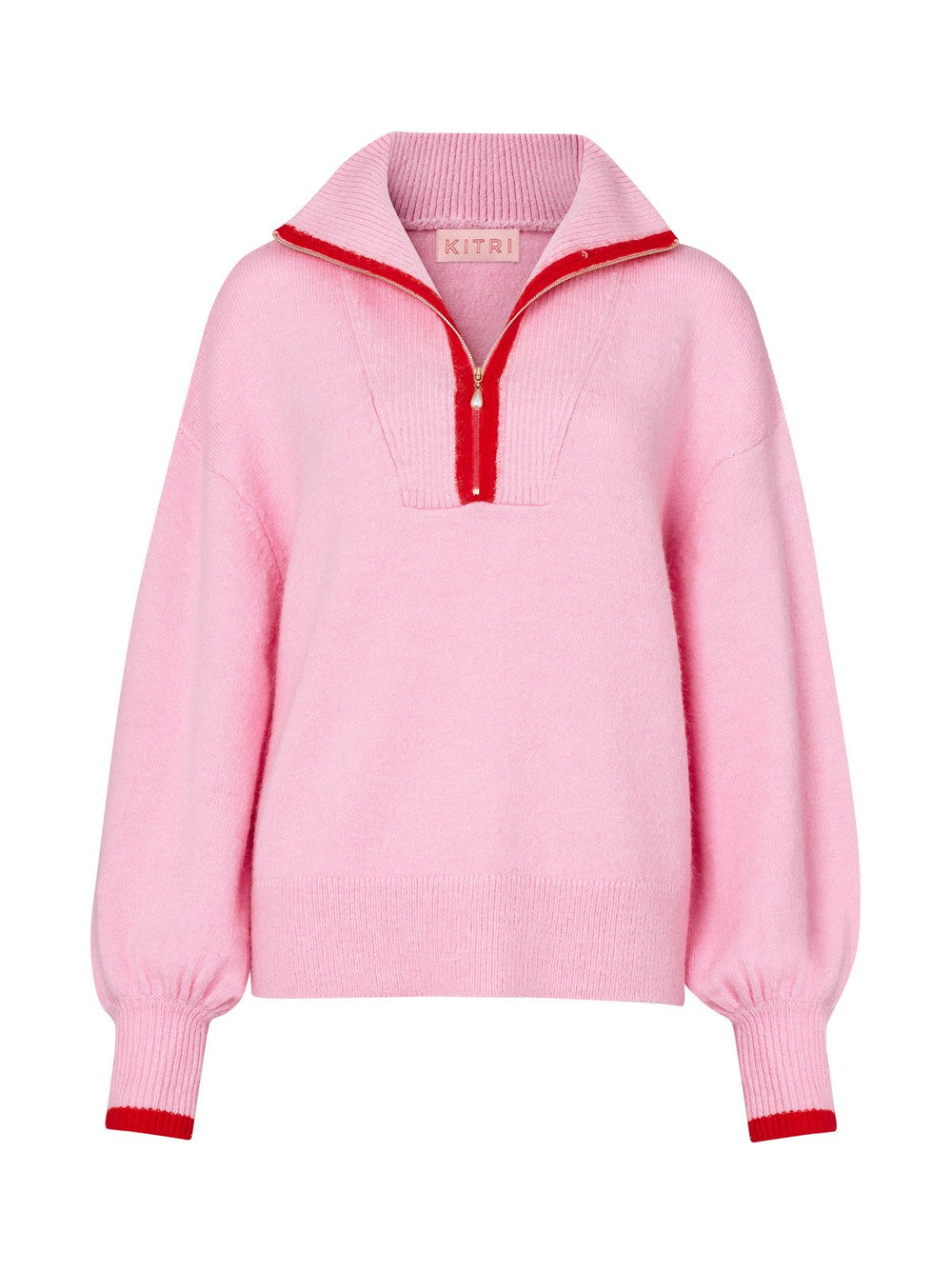 Lorna Pink Alpaca Blend Zip Collar Sweater