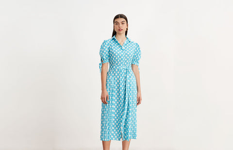 Luciana Aqua Blue Polka Dot Pleated Shirt Dress by KITRI Studio