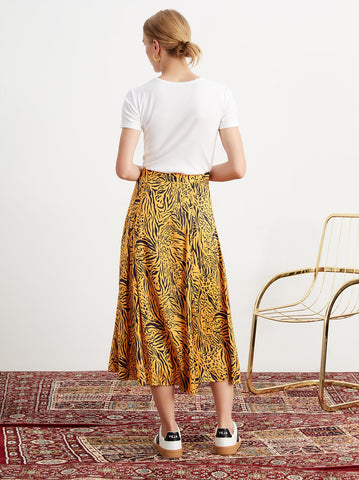 Lydia Animal Print Button Midi Skirt by KITRI Studio
