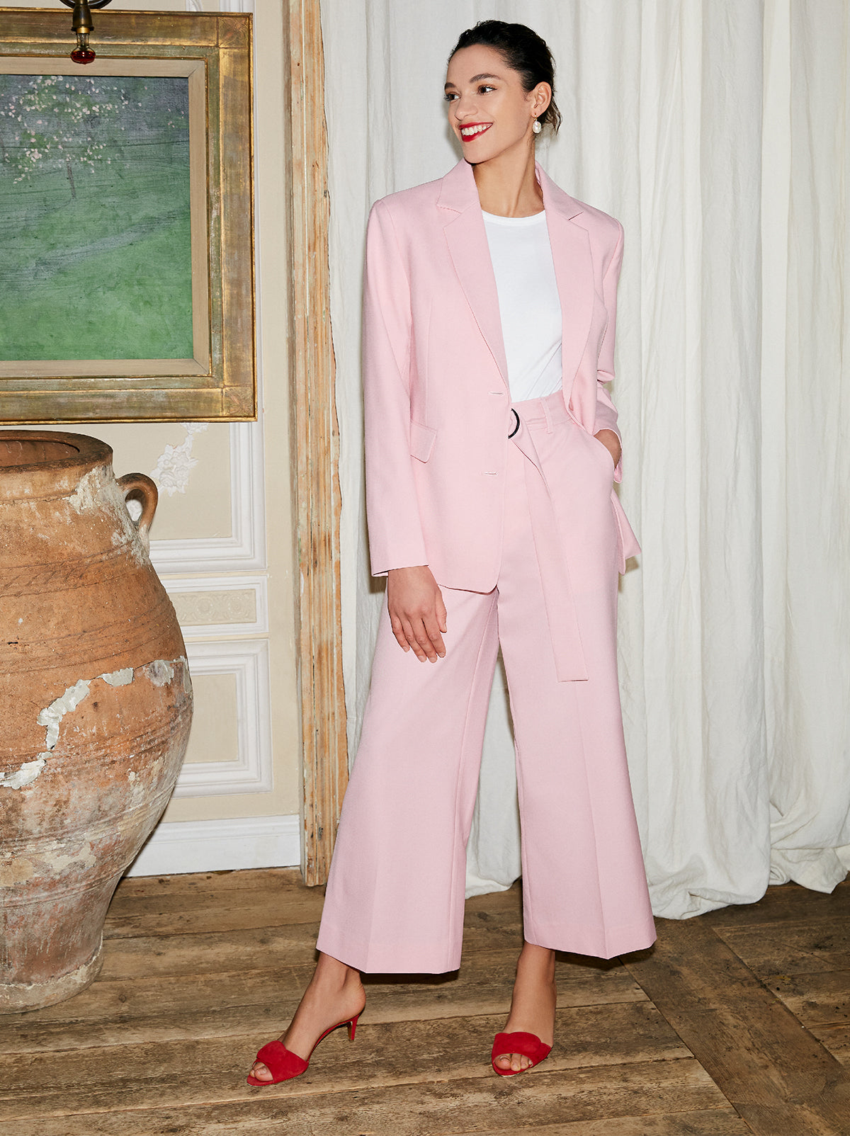 Lynn Pink Tailored Trousers