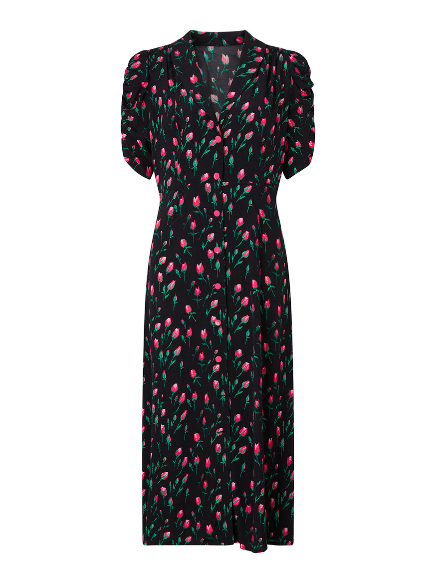 Maguire Black Rose Print Tea Dress
