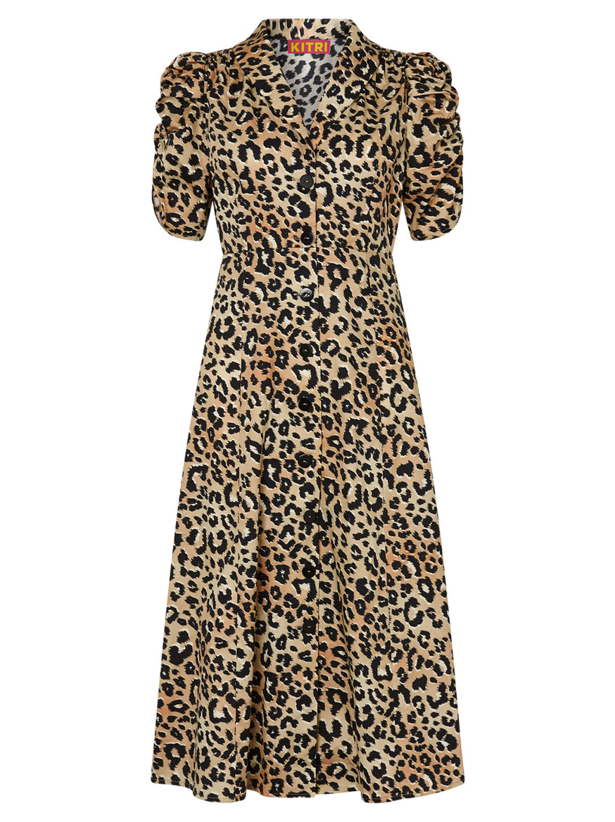 Maguire Leopard Print Cotton Dress by KITRI Studio