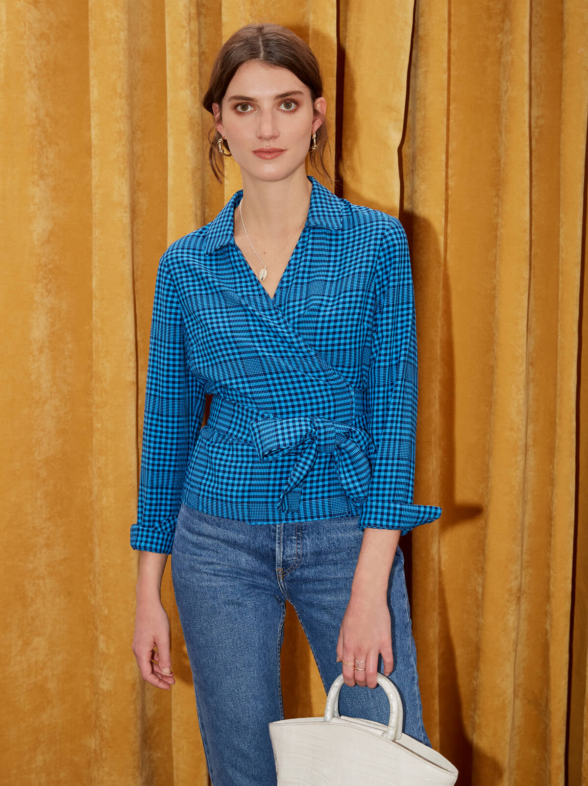 Maisie Blue Check Wrap Shirt by KITRI Studio