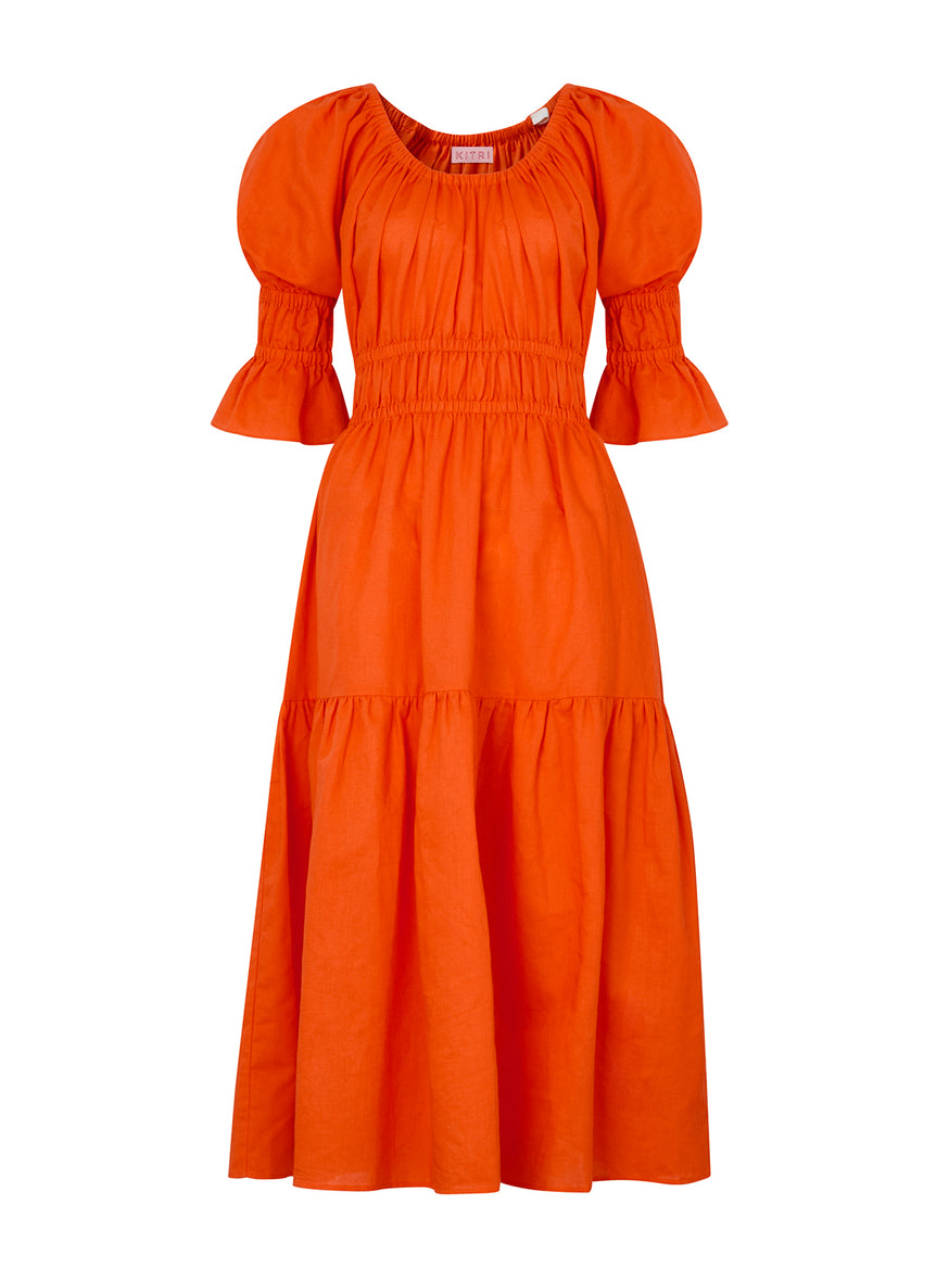 Pre-order: Margot Coral Linen Midi Dress