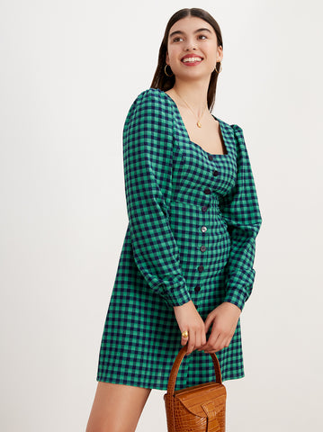 Maria Green Check Mini Dress by KITRI Studio