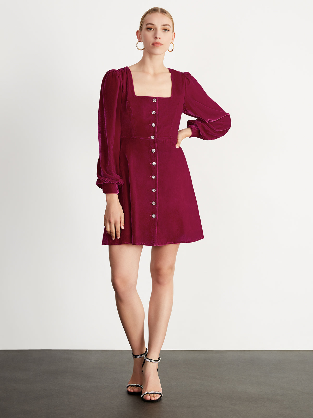 Maria Ruby Velvet Mini Dress by KITRI Studio