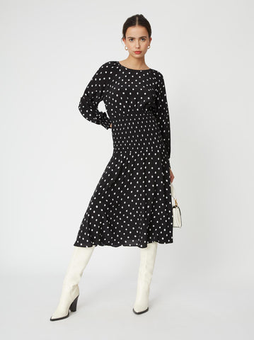 Marianella Black Polka Dot Smocked Dress Mannequin by KITRI Studio