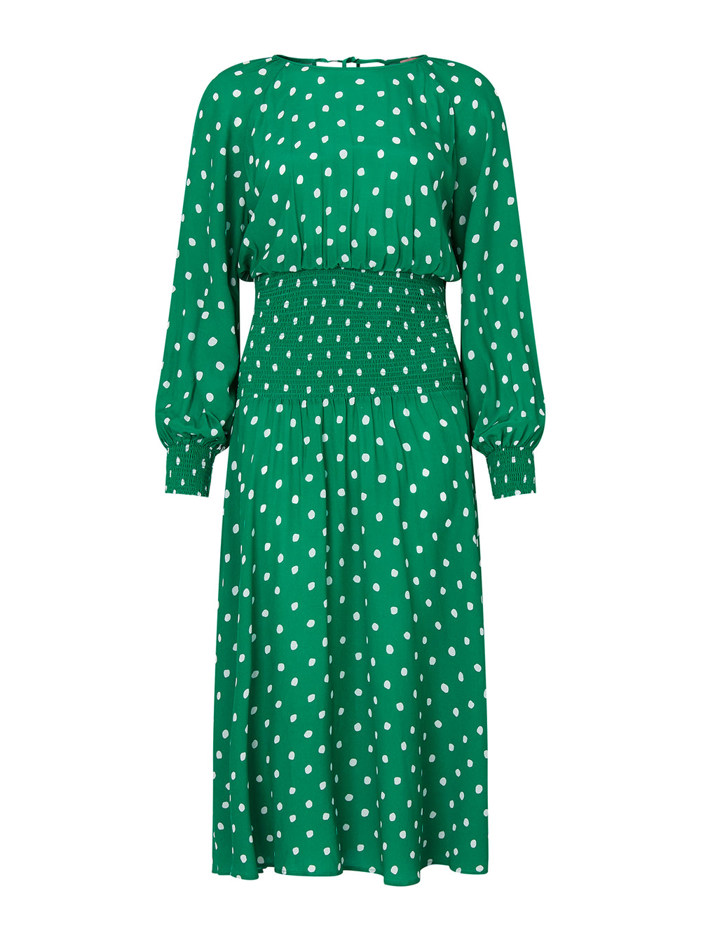 Marianella Green Polka Dot Smocked Dress by KITRI Studio