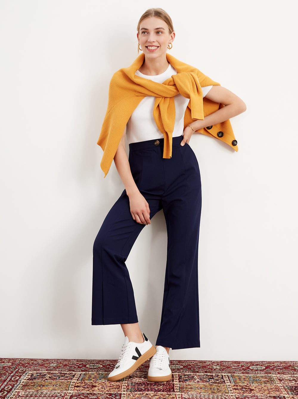 Marla Navy Cropped Kickflare Trousers by KITRI Studio