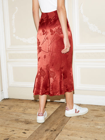 Marlow Rust Red Flare Midi Skirt by KITRI Studio