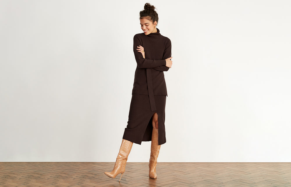 Marsha Brown Roll Neck Jumper