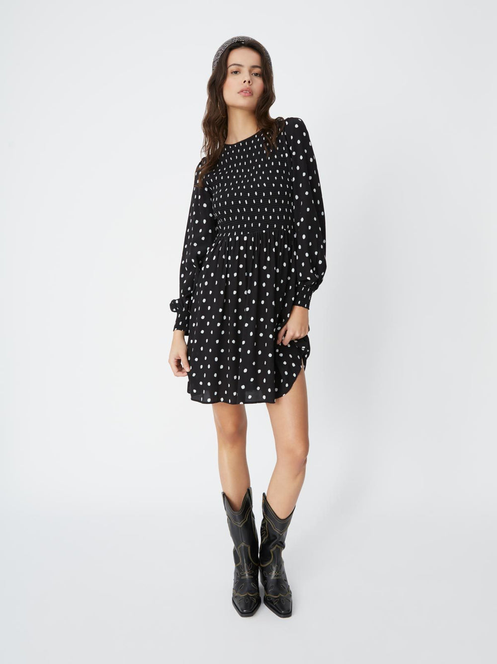 Mathilde Polka Dot Smocked Mini Dress by KITRI Studio