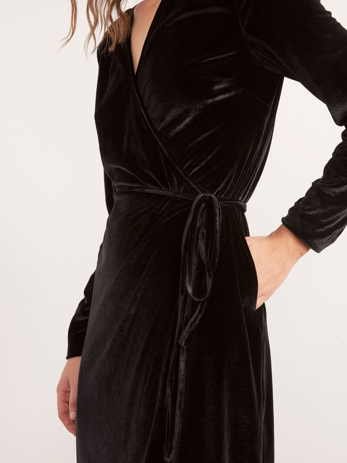 Maya Black Velvet Midi Wrap Dress by KITRI Studio