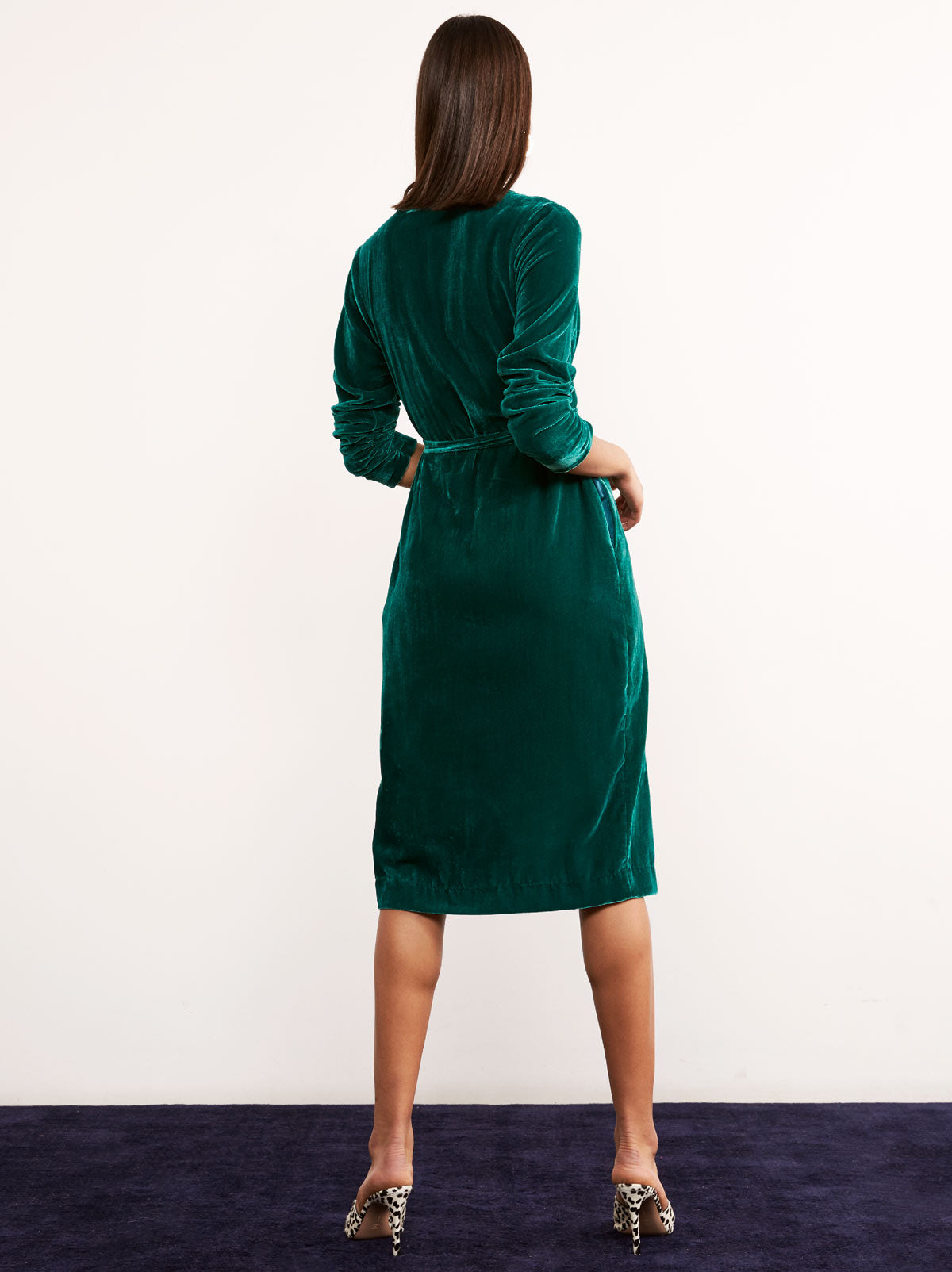 Maya Green Velvet Wrap Midi Dress by KITRI Studio