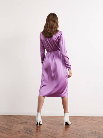 Maya Purple Satin Midi Wrap Dress by KITRI Studio